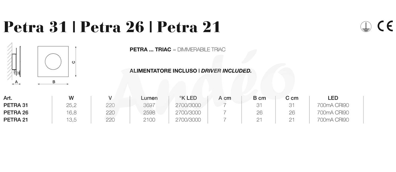 Icone Luce Petra 21 26 31 Tech
