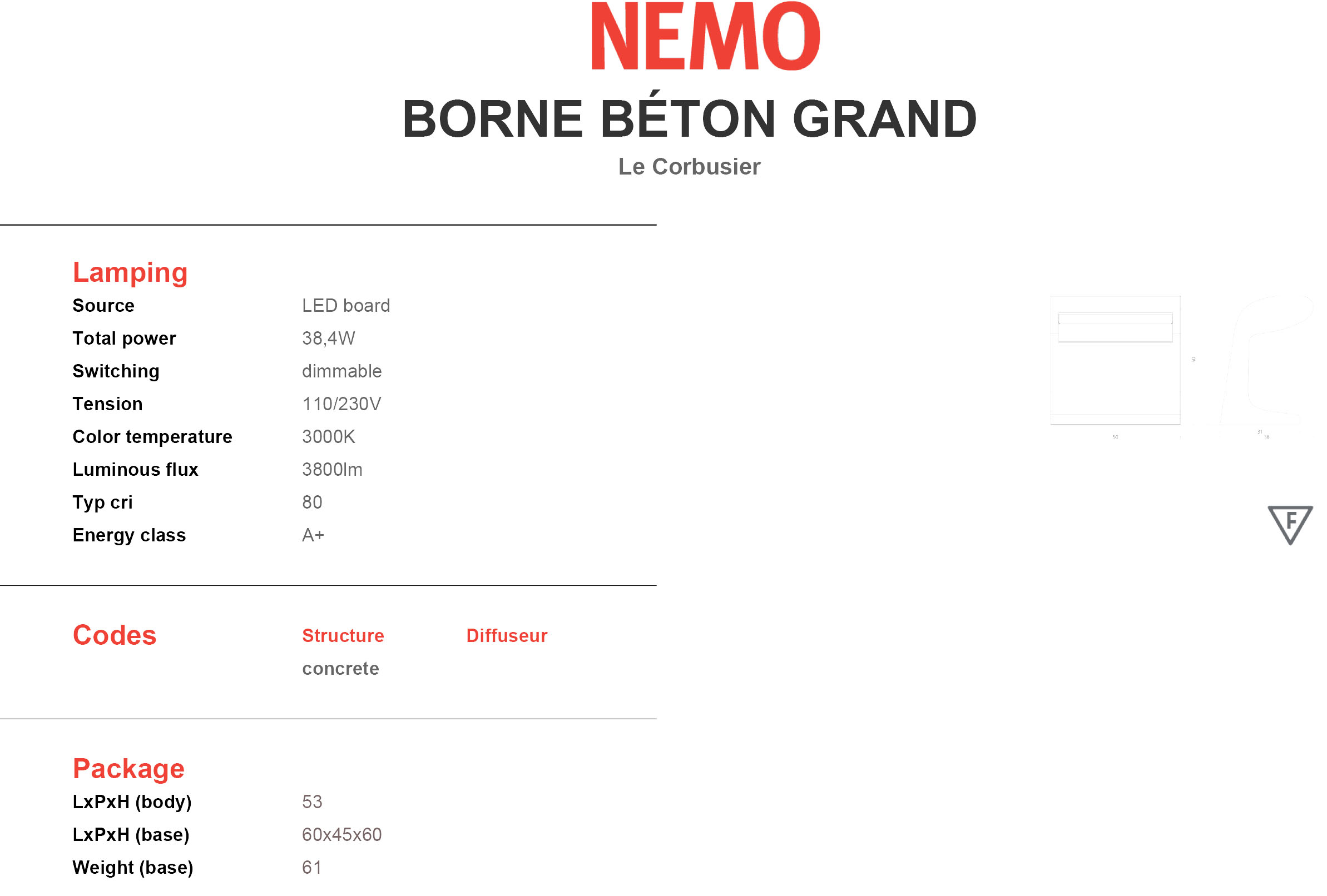 Nemo Borne Béton Grande