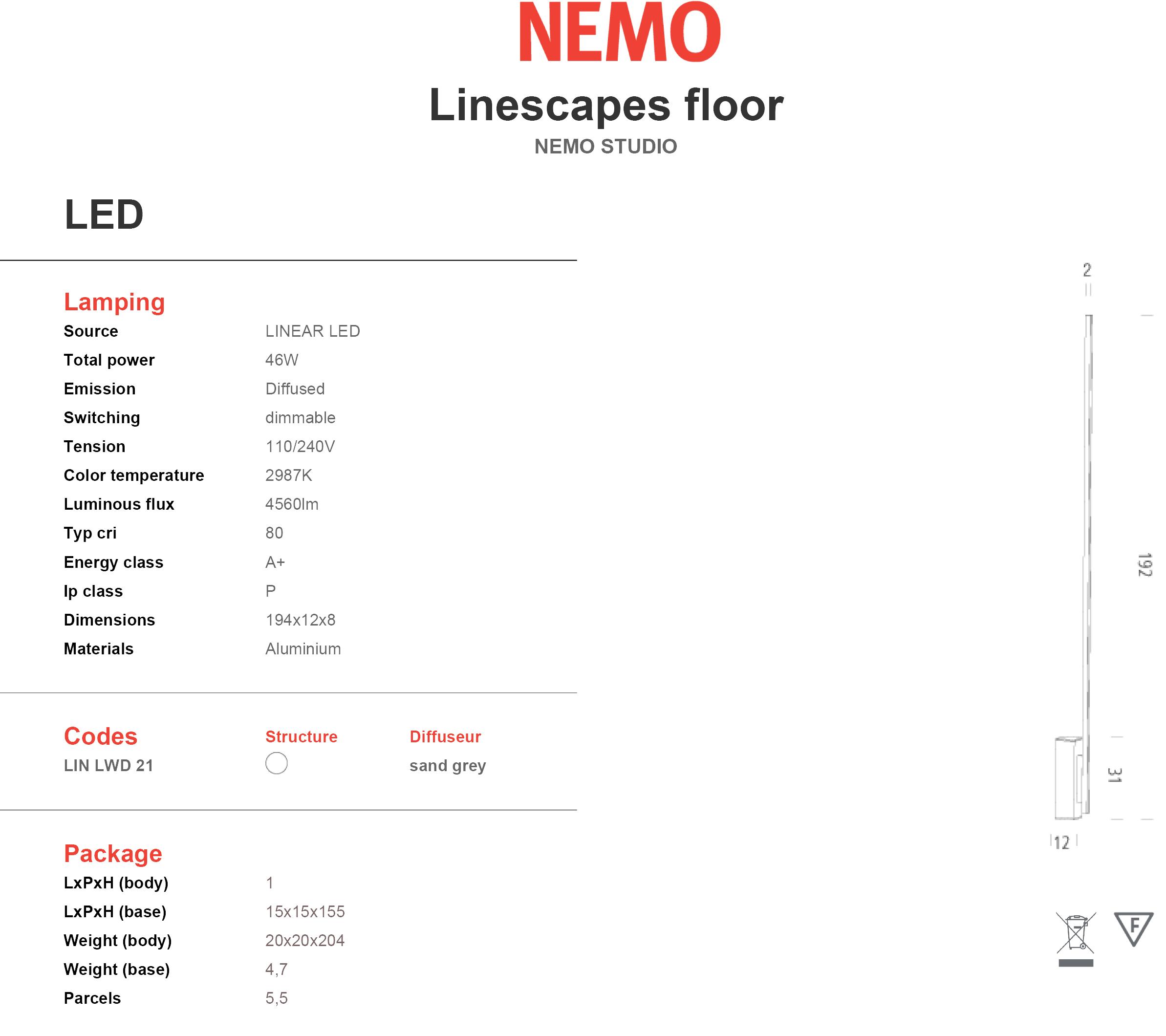 Nemo Lighting Linescapes Floor