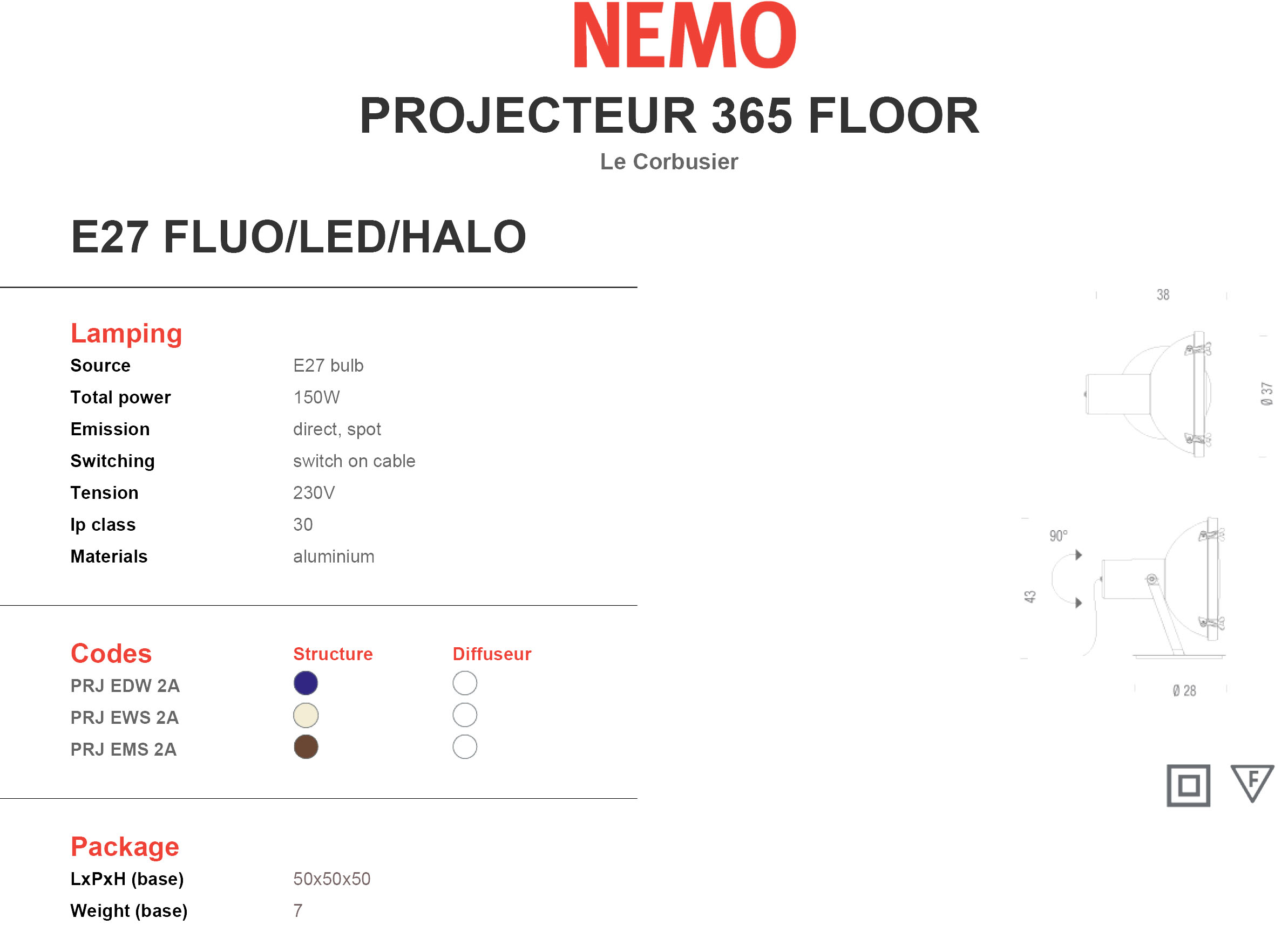 Nemo Lighting Projecteur 365 Floor Tech