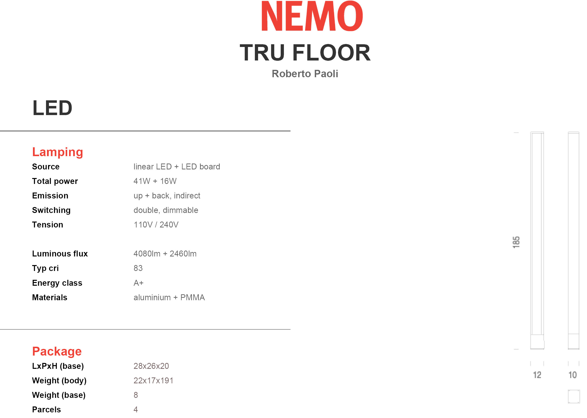 Nemo Lighting Tru Floor Tech