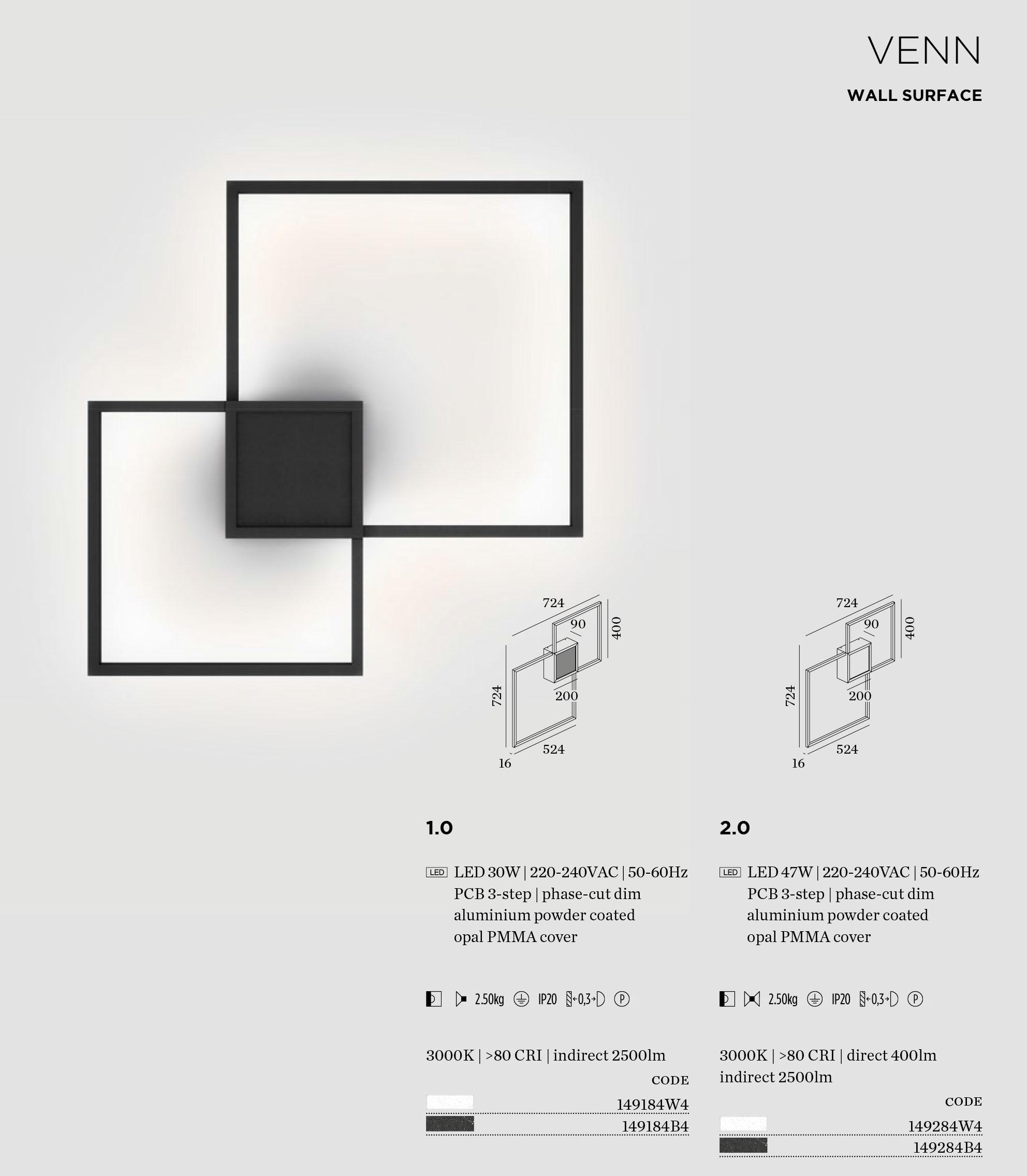 weber ducr venn 1 0 et 2 0 applique eclairage led. Black Bedroom Furniture Sets. Home Design Ideas